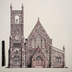 Epicly detailed #penandink #architecture #illustration by Matt Gruneberg (@grunebergart) of St. Michaels Episcopal #Church in #Bristol #RhodeIsland. I am super impressed the Matt took the time to #draw and detail EVERY #brick #mortar slit and #window pane in addition to the detail included with the #shadows #wood elements like the #doors that great looking #bell and #clock face.  I keep looking at it like it was only a model that he took a photo of but he posted some zoomed-in detail shots…