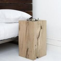 wood block end tables.