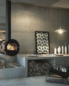 Swedish stove with modern design - 25 stylish models Modern Fireplace, Fireplace Design, Foyers, Area Rug Sets, Stove Fireplace, Wood Burner, Deco Design, Design Moderne, Contemporary Interior