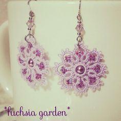 タティングレースのフラワーピアス ~紫~