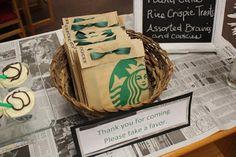 Starbuck's Themed Bridal Shower--pastry bags to wrap favors Starbucks Wedding, Starbucks Birthday Party, 13th Birthday Parties, 12th Birthday, Birthday Ideas, Golden Birthday, Birthday Favors, Birthday Bash, Happy Birthday