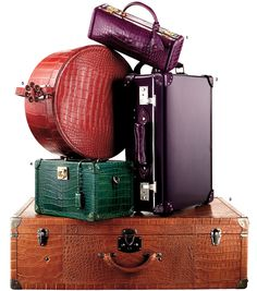 The old-fashioned trunk remixed with crocodile skins, candy colors and distinctive hardware.