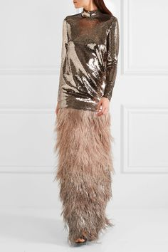 Rose gold sequined chiffon Concealed hook and zip fastening at back 84% polyamide, 16% elastane Dry clean Made in ItalyLarge to size. See Size & Fit notes.