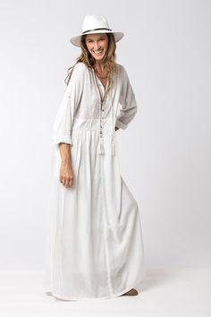 Böhmisches Kleid lose Kleid weißes Kleid weißes Maxi von Hanamer