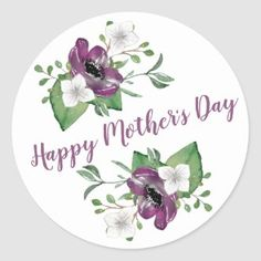 Pretty Floral Wreath Happy Mother's Day Classic Round Sticker   Zazzle.com Mother's Day Special Message, Mothers Day Special, Happy Mothers Day Images, Mothers Day Cards, Mothers Day Classic, Mothers Day Flowers, Presents For Mom, Floral Flowers, White Flowers