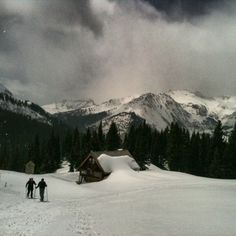 Snow shoeing up to some cabins off the Million Dollar Highway near Silverton Colorado