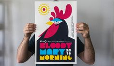 Created this poster for the 2016 Bloody Mary Morning event for SXSW here in Austin. This rooster had a little too much fun last night.) Full size attached: Poster printed by Industry Print Shop. by stevewolfdesigns Poster Design Layout, Event Poster Design, Creative Poster Design, Creative Flyers, Poster Design Inspiration, Creative Posters, Graphic Design Posters, Flyer Design, Poster Designs