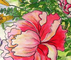 Watercolor garden fabric by carinag on Spoonflower - custom fabric