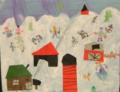 """The first graders were introduced to the artist Grandma Moses and her wonderful landscape paintings.  They learned how, at the age of 72, Grandma Moses began her career as an artist.  This project allowed the students the experience of showing """"perspective"""" in their art by creating various sizes of buildings and placing them properly on the page.  A combination of paint, cut paper, black marker, and colored pencil gave these landscapes texture and personality"""