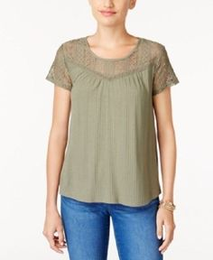 Style & Co Large Olive Spring Green Textured Lace-Yoke Top Blouse 1508 #Styleco #Blouse #Casual