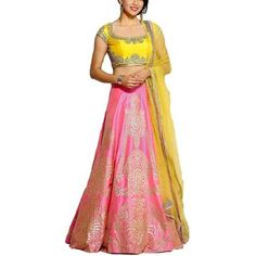 Shop RR Crafts&Creations Women's Silk Lehenga with Blouse Piece and Dupatta Yellow. Free delivery and returns on eligible orders. Choli Dress, Lengha Choli, Pink Lehenga, Blouse Dress, Lehenga Gown, Work Blouse, Rajasthani Lehenga, Indian Fashion, Womens Fashion