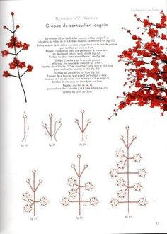 "Best 11 Tree diagram of beads ""Ruby"" / Scheme / Trees and colors of beads – SkillOfKing. Seed Bead Flowers, French Beaded Flowers, Wire Flowers, Seed Beads, Paper Flowers, Beaded Flowers Patterns, Beading Patterns, Wire Crafts, Bead Crafts"