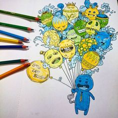 """""""A może... Urodzinowy Bazgroł?  #inwazjabazgrolow #kolorowanka #art #kolorowanie #coloringbook #inwazjabazgrołów #kolorowo #kolorowanki #colorful #sztuka…"""""""