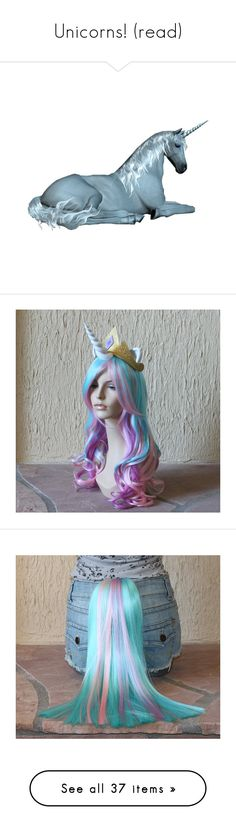 """Unicorns! (read)"" by perrie-edwards-anon-xxxx ❤ liked on Polyvore featuring animals, unicorn, fantasy, backgrounds, fillers, costumes, wigs, mlp, cosplay and hair"