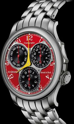 "FP Journe Centigraphe Souverain F.  Chronograph measuring down to 100th of a second, combines the universe of high horology with the world of sports.  Its ""Formula Jean Todt"" version is offered with a red chrome dial, yellow hands and 3 registers in blackened Gold, platinum case and bracelet."
