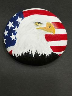 Acrylic eagle on American flag painted on rock - All For Garden