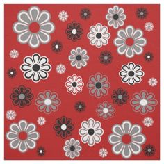 Very retro mod - grey white and black flowers on a red background. DIY fabric from Zazzle Retro Flowers, Black Flowers, Grey And Red Living Room, Retro Fabric, Red Accents, Red Background, Quilting Projects, Fabric Flowers, Custom Fabric