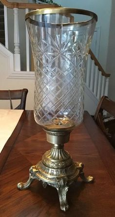 Footed Brass Hurricane with Diamond Cut Glass and Rim | Home & Garden, Home Décor, Candle Holders & Accessories | eBay!
