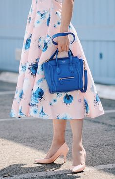 HallieDaily, Style, Street Style, Spring Style, Outfit, OOTD, Floral Dress, Midi Dress, Denim Shirt, Celine Bag, Celine Nano Bag, Dior Shoes, Blush Shoes, Linda Farrow X 3.1 Phillip Lim, Sunglasses, Cat Eye Sunglasses, Blush Pink Sunglasses, Dior Earrings, Pearl Earrings, Pretty, Feminine