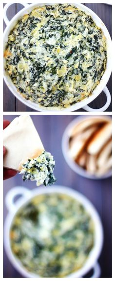 Healthier Spinach Artichoke Dip -- no one will ever guess that this classic, creamy, delicious dip was actually made with lighter ingredients. It's SO GOOD! | gimmesomeoven.com #gameday #appetizer