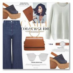 """""""Wide Leg Denim Culottes Jeans Denim Wedges"""" by jiabao-krohn ❤ liked on Polyvore featuring See by Chloé, ClaireChase, Amanda Rose Collection, STELLA McCARTNEY, Zara and Skagen"""