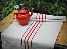 Vintage grain sack table runner  Red by CoFfEeCrAzeHanDmade