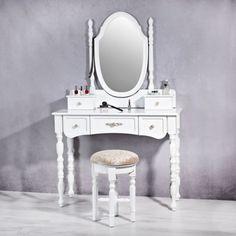 Set Masa Alba toaleta cosmetica machiaj oglinda masuta @ http://lovelydeco.ro/cele-mai-frumoase-masute-de-toaleta-pentru-cosmetica-si-machiaj/