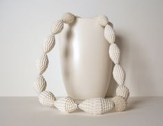 Statement Necklace with snow white Paper Beads