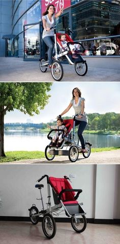 Now you can REALLY exercise when taking baby out for a walk. Taga makes it possible with their Bike Stroller. It's a full sized bicycle for mom and dad, with a child seat out front so baby doesn't miss any of the action. What could get better than that, you ask? How about that you can completely convert it from a bike to a stroller when you need it, and space is low? Check it out!