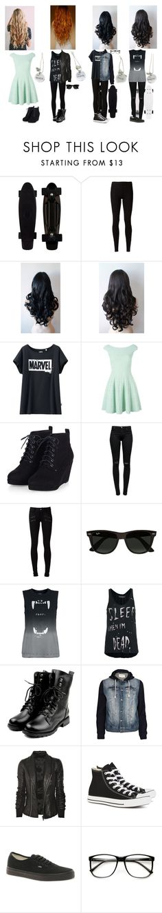 """""""Best Friends 2"""" by melindaisinsane ❤ liked on Polyvore featuring Rick Owens Lilies, Uniqlo, Alexander McQueen, J Brand, Paige Denim, Ray-Ban, Religion Clothing, River Island, Rick Owens and Converse"""
