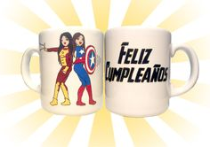 regalo de cumple #personalizado #desayuno #breackfast #mug #regalo #present #superheroes #superheros #ironman #capitan #america