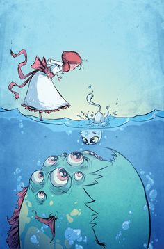 skottie young art illustration of a little girl and her cat discovering a sea monster from a fantasy childrens story