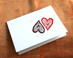 Just in time for #Valentine's Day! Linocut Yin and Yang Spoke #Heart Notecards by manfadesign on Etsy, $8.00