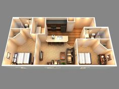 This is a 3D floor plan of our 2 bedroom 2 bath!