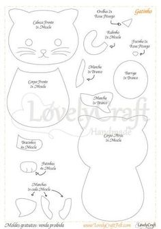 Eu Amo Artesanato: Glass cup holder with molds Animal Sewing Patterns, Felt Patterns, Applique Patterns, Quiet Book Templates, Felt Templates, Applique Templates, Card Templates, Sewing Stuffed Animals, Stuffed Animal Patterns