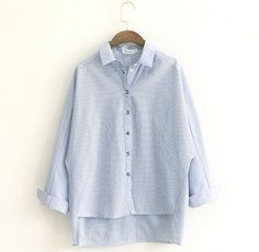 striped Letters placket Turn-down collar batwing sleeve long sleeve shirt blouse autumn
