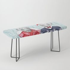 """Park it in style on this incredibly versatile bench, upholstered with vegan leather featuring all the designs you love. The perfect indoor bench, it will give any space an instant upgrade. Dress it with plush blankets or throw pillows to keep it elegant, but super cush.    -44"""" x 16"""" x 18"""" (H)   -Steel legs available in gold or black   -Wipe clean with damp cloth   -Assembly required    #### Please note: all furniture is custom-made and printed u... Plush Blankets, Throw Pillows, Weimaraner, Ugly Christmas Sweater, Vegan Leather, Cleaning Wipes, Bench, Indoor, Note"""