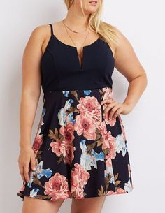 So cute! Plus Size Floral Combo Skater Dress