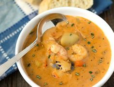 This creamy seafood chowder recipe begins with an easy-to-make homemade seafood stock. Potatoes, shrimp, crab, and lobster meat are added. Crab Chowder, Crab Soup, Shrimp Soup, Chowder Soup, Potato Soup, Fish Recipes, Seafood Recipes, Soup Recipes, Cooking Recipes