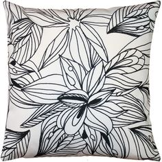 Pillow Decor Pen and Ink Flowers Throw Pillow 20x20 (£39) ❤ liked on Polyvore featuring home, home decor, throw pillows, pillow, fabric home decor, black and white home decor, flower stem, floral home decor and flower throw pillow