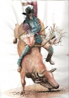 The Spirit of America is evident in the rough and tumble world of cowboys.  Experience the thrill of the Rodeo with cowboy art  done in watercolor.Celebrate...