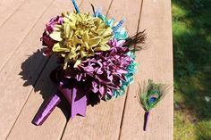 Peacock bouquet and boutonniere