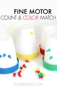 Fine motor color math with push pins and a foam cup. This is great and a simple activity for preschoolers to do at home! Work on counting, addition, subtraction, and color recognition with materials you already have at home (free or almost free materials for homeschool or learning extension activities at home!)