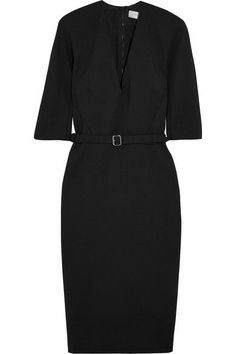 Victoria Beckham's LBD is cut from a shape-holding stretch cotton-blend crepe and lined in satin for a smooth silhouette. This V-neck style has elegant half sleeves, a darted waist and flexible buckled belt to enhance the nipped-in shape. Adjust the two-way zip fastening for more movement through the skirt.