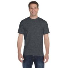 A DARK HEATHER DryBlend? 5.6 oz., 50/50 T-Shirt product DARK HEATHER DryBlend? 5.6 oz., 50/50 T-Shirt $6.03 50% preshrunk cotton, 50% polyester; DryBlend? fabric wicks moisture away from the body; Double-needle stitching throughout; Taped shoulder-to-shoulder; Seamless collar; Heat transfer label;