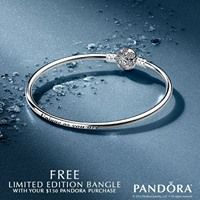 Get a FREE Limited Edition Unique Snowflake Bangle when you purchase $150 or more of PANDORA Jewellery from November 24th to the 27th. *While supplies last, limit 3 per customer. Valid only at participating retailers. Void where prohibited. Not valid with prior purchase. Excludes gift card purchases. Prices before taxes. #orangeville #pearhome #pandora #free