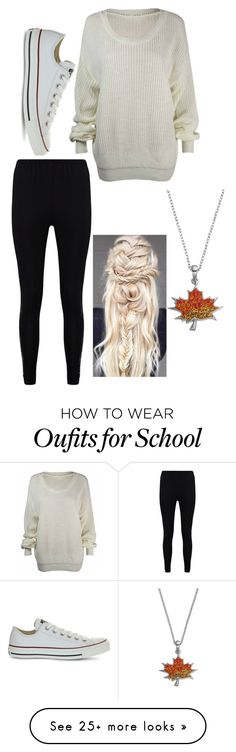 """""""#Fall #Sweaters"""" by maeghanworth on Polyvore featuring Boohoo, Converse and Silver Luxuries"""