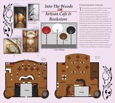 Lost Woods: Artisan Cafe & Book Store- This is 1 of 2 boards done for this project and shows the floor plans, inspiration and color scheme to reference fairy tale surroundings and their artistic significance.