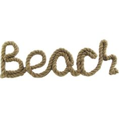 Rope Words Beach 19 inch x 6 inch Wall Decor, Brown