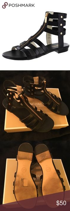 Sz 10 Michael Kors Codie  Gladiator Sandals Worn twice. New condition. See pictures. Step out in style wearing the Michael Kors Codie Women's Strappy Gladiator Leather Sandals! Genuine leather upper, caged gladiator camp with exposed front zipper, golden studded hardware, zipper front, and elastic straps wrap ankle Built to last and stay up with latest fashions and styles, leaving you with the most desired looks. Make an offer. Everything in my closet is negotiable. Bundle and safe more…
